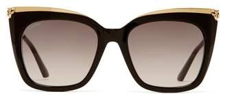 Cartier Eyewear - Panthere De Cat-eye Acetate Sunglasses - Womens - Gold