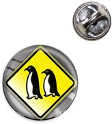 Made On Terra Penguins Crossing Road Stylized Yellow Grey Caution Sign Lapel Hat Tie Pin Tack
