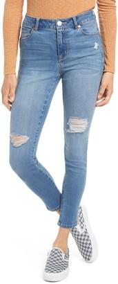 1822 Denim Ripped High Waist Ankle Skinny Organic Cotton Blend Denim Jeans