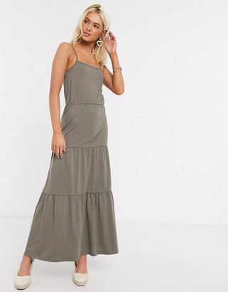 JDY tiered jersey maxi dress in green