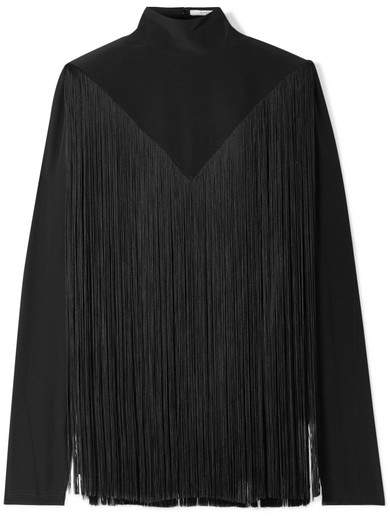 Givenchy Fringed Silk Crepe De Chine Turtleneck Blouse - Black