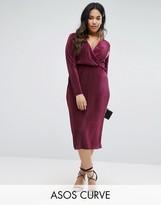 Asos Curve Plisse Wrap Front Midi Dress