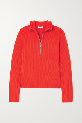 Chloé Ruffled Ribbed Wool And Cashmere-blend Sweater - Red