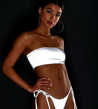 Frankie's Bikinis Frankies Bikinis Exclusive bandeau bikini top in reflective silver