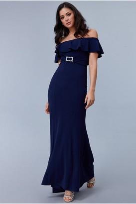 Goddiva Frilled Bardot Maxi Dress with Diamante Trim