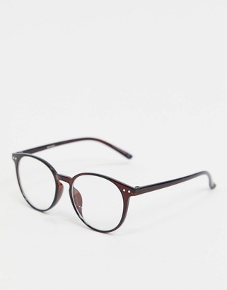 ASOS DESIGN round glasses in brown with clear lens