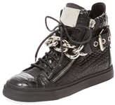 Giuseppe Zanotti Embossed Leather Double Zip Hi-Top