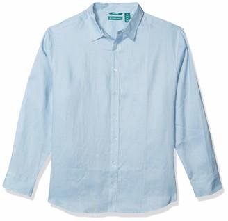 Cubavera Men's Tall Long Sleeve 100% Linen Essential Shirt with Pintuck Detail