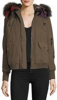 Belle Fare Hooded Canvas Bomber Jacket w/ Fur Trim
