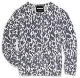Monrow Girl's Leopard-Print Crewneck Sweatshirt