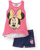 Children's Apparel Network Minnie Mouse Pink Sleeveless Tee & Shorts - Girls