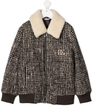 Dolce & Gabbana Kids Check-Pattern Bomber Jacket