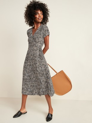Old Navy Fit & Flare Tie-Waist Wrap Midi Dress for Women