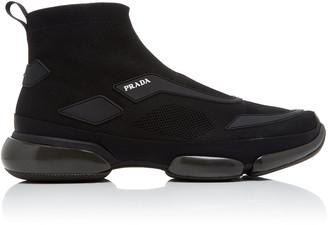 Prada Cloudbust Stretch-Knit High-Top Sneakers