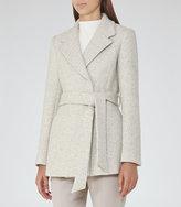 Reiss Anda - Melange Belted Coat in White, Womens