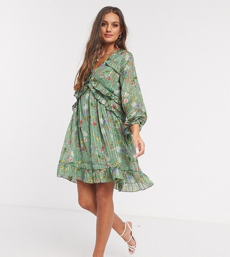 Y.A.S mini skater dress with ruffle detail in green floral