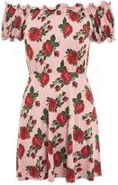 Topshop PETITE Rose Print Gypset Bardot Dress