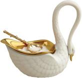 L'OBJET Swan Salt Cellar & Gold Plated Spoon - White