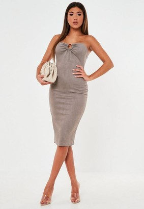 Missguided Petite Taupe Suedette Strapless Midi Dress