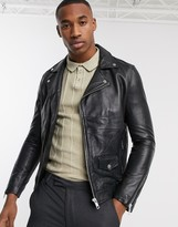 Barneys New York Barneys Originals real leather zipped biker jacket