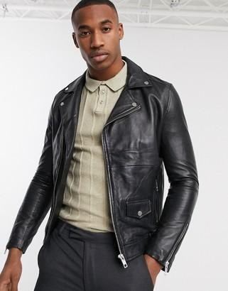 Barneys New York Barneys Originals real leather zipped biker jacket