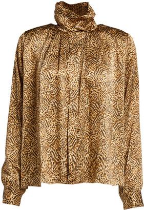 Forte Forte Eagle-Print High-Neck Satin Silk Shirt