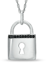 Zales Enhanced Black Diamond Accent Lock Pendant in Sterling Silver