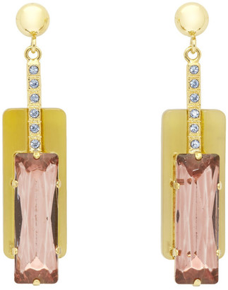 Erdem Gold and Pink Horn Drop Earrings