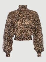 Frame Smocked Cheetah Blouse