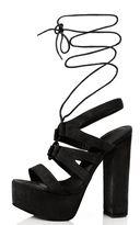 Quiz Black Faux Suede Lace Up Sandals