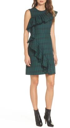 Chelsea28 Ruffle Detail Plaid Sheath Dress