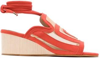 Blue Bird Shoes Mesh Panels Wedge Sandals
