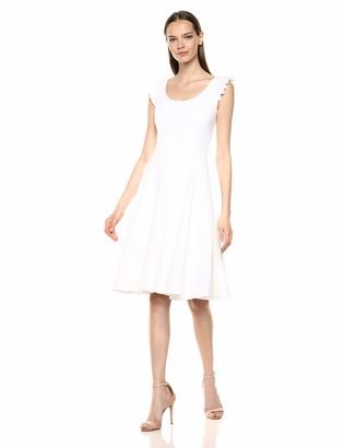 Calvin Klein Women's Sleeveless Scoop Neck Midi Dress with Ruffle Trim Straps