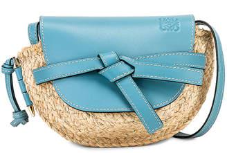 Loewe Mini Gate Bag in Light Blue & Natural | FWRD