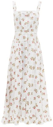 Thierry Colson Rossana Button-down Floral-print Cotton Maxi Dress - Womens - White Print