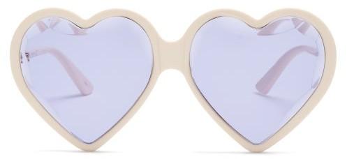 Gucci Heart Shaped Frame Sunglasses - Womens - Purple Multi