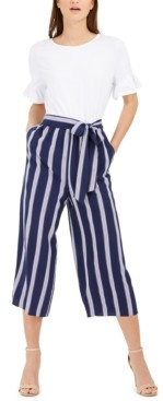 Maison Jules Striped-Leg Belted Jumpsuit, Created for Macy's