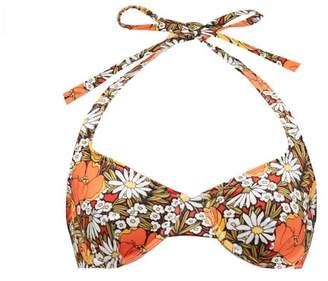 Solid & Striped The Ginger Floral-print Halterneck Bikini Top - Womens - Orange Print