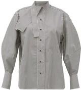 Palmer Harding Palmer//Harding Palmer//harding - Sara Cotton-blend Neck Tie Shirt - Womens - Black White