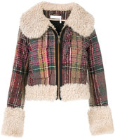 Chloé shearling trim checked jacket