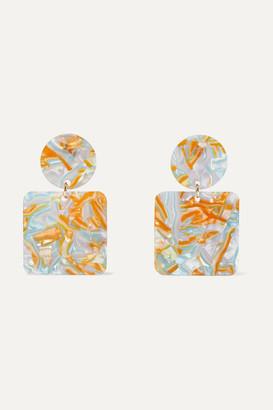 Valet Studio Abigail Marbled Iridescent Resin Earrings - Orange