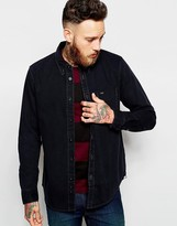 Lee Regular Fit Denim Shirt One Pocket Washed Black