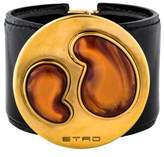 Etro Leather Abstract Bangle Bracelet