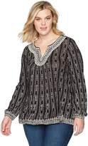 Lucky Brand Women's Plus Size Embroidered Drop Needle Top