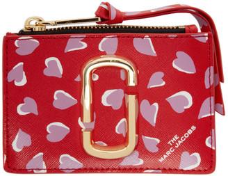 Marc Jacobs Red Snapshot Hearts Top Zip Card Holder