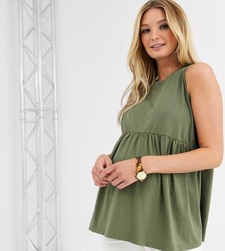 Asos DESIGN Maternity sleeveless smock top-Green