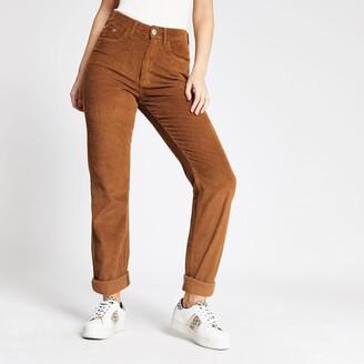 River Island Womens Brown corduroy Mom high rise jeans