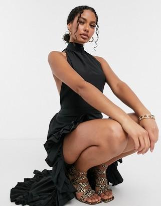 Moda Minx backless high low dress in black
