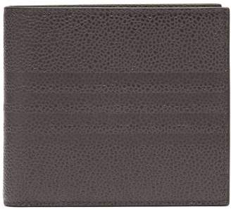 Thom Browne Debossed-stripe Pebbled-leather Bi-fold Wallet - Mens - Grey