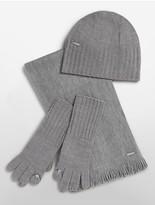 Calvin Klein Knit Hat, Tech Gloves + Scarf Set